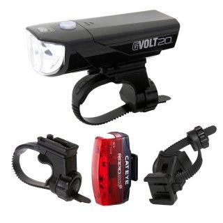 Cateye Beleuchtungskit GVolt 20 RC + Rapid micro G + zusätzlicher Halterung