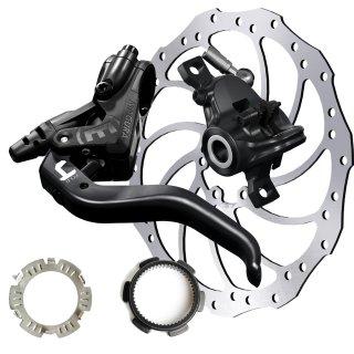 Magura Hydraulische Scheibenbremse MT4 Set + HC203 mm+Centerlock-Adapter