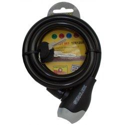 Kabelschloss 12x1200mm mit 2 Schlüssel schwarz